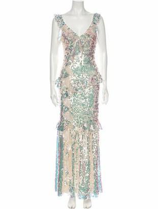 Needle & Thread Printed Long Dress Silver