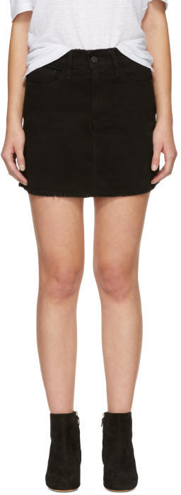 Frame Black Denim Le Mini Frayed Edges Miniskirt