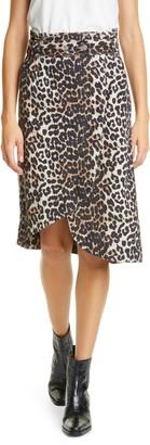 Ganni Leopard Print Asymmetrical Denim Wrap Skirt