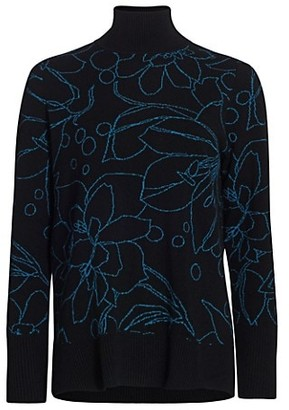 Akris Punto Floral Intarsia Wool & Cashmere Knit Turtleneck