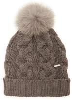 Woolrich Serenity fur-pompom cable-knit wool beanie hat