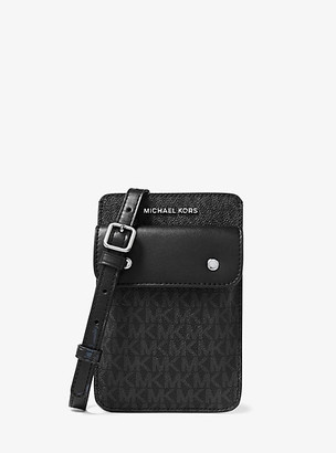 Michael Kors Logo Smartphone Crossbody Bag - Black