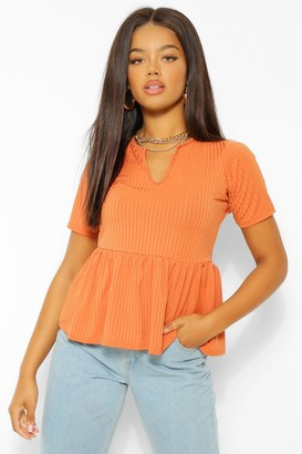 boohoo Ribbed Notch Front Peplum Top