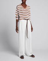 Brunello Cucinelli Monili-Beaded Striped Cotton V-Neck Top
