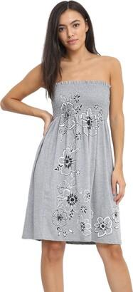 janisramone Womens Ladies New Floral Panel Print Bandeau Boobtube Flared Strapless Mini Dress Sheering Top Cream
