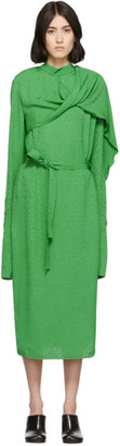 Materiel Tbilisi Green Draped Belted Dress