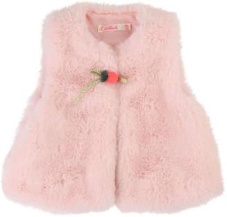 Billieblush Faux Fur Vest w/ Pompom Detail, Size 12M-3