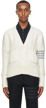 Thom Browne Off-White Wool Aran Knit 4-Bar Classic Cardigan