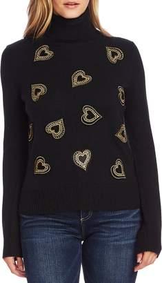 Vince Camuto Heart Embellished Turtleneck Sweater