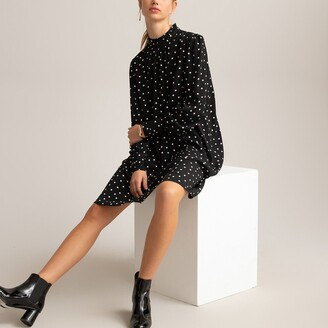 La Redoute Collections Polka Dot Mini Dress with High Neck and Long Sleeves