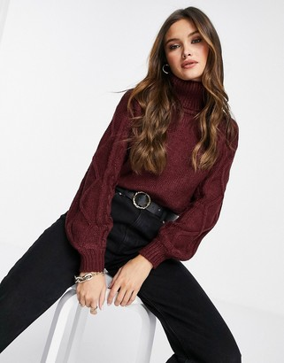 NA-KD cable knit jumper in burgundy