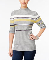 Style&Co. Style & Co. Mock-Neck Striped Sweater, Only at Macy's