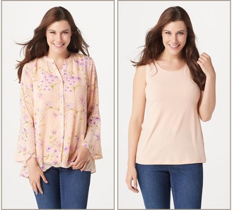 Susan Graver Printed Woven Button Front Shirt and Knit Tank Set