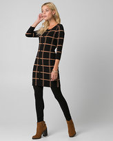 Le Château Check Print Scoop Neck Tunic Sweater
