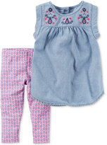 Carter's 2-Pc. Embroidered Chambray Top and Capri Leggings Set, Baby Girls (0-24 months)