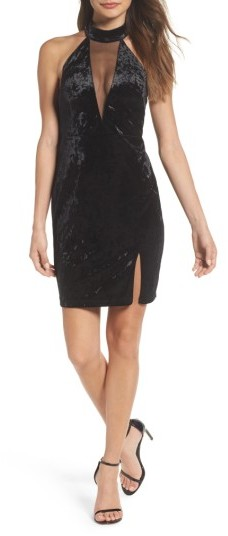 Sequin Hearts Women's Velvet Illusion Neck Halter Dress