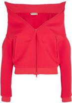 Balenciaga Cropped Scuba-jersey Bomber Jacket - Red