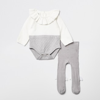 River Island Baby Grey RI frill neck baby outfit
