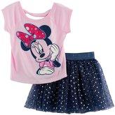 Disney Disney's Minnie Mouse Toddler Girl Graphic Tee & Foil Dot Tulle Skirt Set