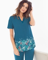 Soma Intimates Pop Over Pajama Top Tranquil Border Poseidon