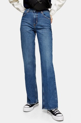 Topshop Womens Mid Blue Relaxed Flare Jeans - Mid Stone