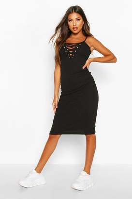 boohoo Premium Rib Lace Up Strappy Midi Dress