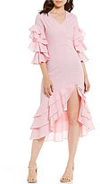 Gianni Bini Lola Tiered Ruffle Sleeve Striped Dress