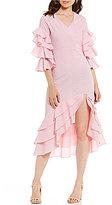 Gianni Bini Lola Tiered Ruffle Sleeve Striped Midi Dress