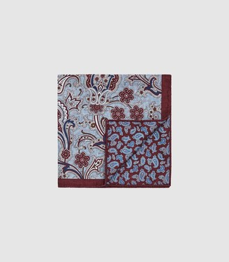 Reiss BALOTELLI SILK DOUBLE SIDED POCKET SQUARE Rust