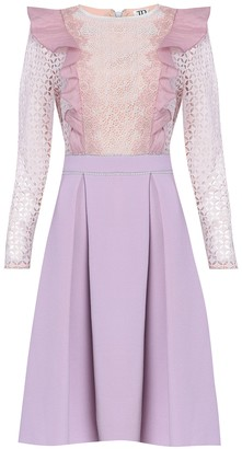 True Decadence Tonal Lilac Neoprene And Lace Midi Dress