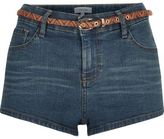 River Island Womens Mid wash denim belted hotpant shorts