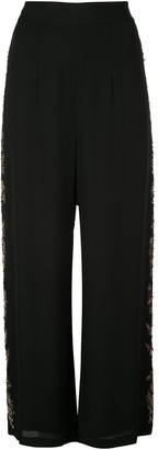 Josie Natori Couture beaded wide-leg trousers