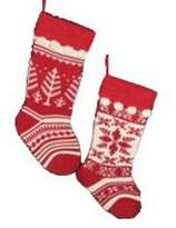 Kurt Adler Set of 2 Red and White Knit Christmas Stockings