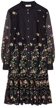 Tory Burch Embroidered Floral Tulle Tunic Shirtdress