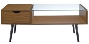 Walker Edison Wood and Glass Coffee Table - Acorn