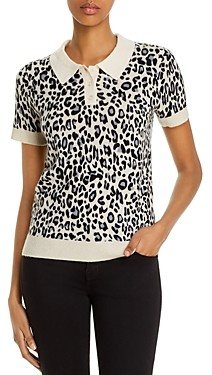 Bloomingdale's C by Cashmere Leopard Print Polo Sweater - 100% Exclusive