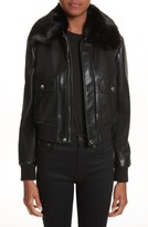 Givenchy Women's Faux Leather Jacket With Faux Fur Collar