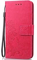 Fashion Floral Clover Embossed PU Leather Magnetic Flip Cover Card Holders & Hand Strap Wallet Purse Cover Case For Mobile Cell Phone (Alcatel TRU 5065N/ Stellar (MetroPCS))