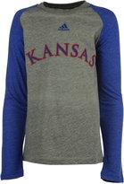 adidas Boys' Long-Sleeve Kansas Jayhawks Font Raglan T-Shirt