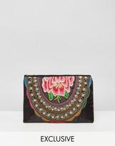 Reclaimed Vintage Flower Embroidered Clutch Bag