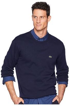 Lacoste Long Sleeve Half Moon Crew Neck Jersey Sweater (Navy Blue/Flour/Navy Blue) Men's Sweater