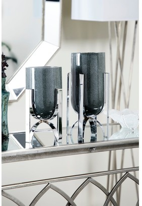 Studio 350 Modern Cylindrical Marble Vases on Iron Stands   Set of 2