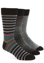 Bugatchi Assorted 3-Pack Mercerized Cotton Blend Socks