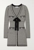 Thumbnail for your product : Self-Portrait Bow-detailed Striped Cotton-blend Mini Dress - Black