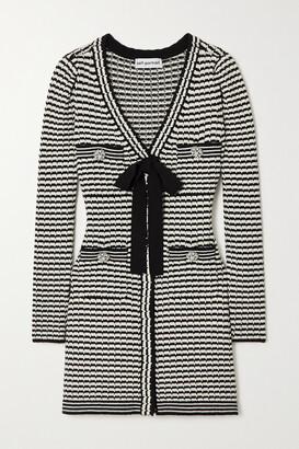Self-Portrait Bow-detailed Striped Cotton-blend Mini Dress - Black