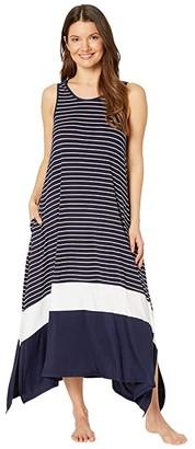 Donna Karan Modal Spandex Jersey Long Gown (Ink Stripe) Women's Pajama