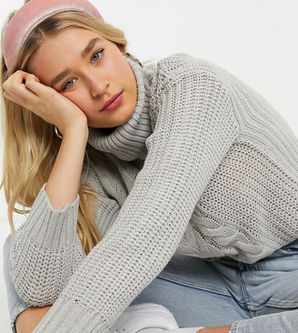 Brave Soul Tall opium sweater in patchwork cable knit