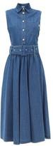 MSGM Sleeveless Belted Denim Shirtdress - Womens - Denim