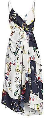 Tanya Taylor Women's Catia Asymmetrical Floral Silk Faux Wrap Dress