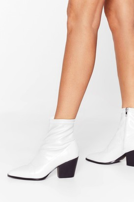 Nasty Gal Womens Step On Up Western Ankle Boots - White